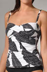 Banana Leaf Foam Cup Twist Tankini Swim Top