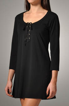 Knit Covers V-Neck Tunic with Lace-Up Front