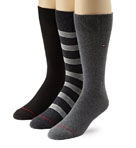 Multiple Stripe Crew Socks - 3 Pack