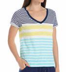 Stripe Print V Neck Image