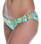 Woodblock Floral Buckle Side Hipster Swim Bottom Image