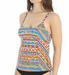 Peruvian Stripe Scoop Neck Tankini Swim Top Image