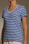 Charged Cotton Striped Plunge V-Neck Tee