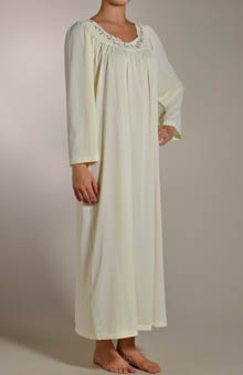 Petals Long Sleeve Embroidered Yoke Gown