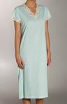 Tricot Short Sleeve Lace V-neck Sleepshirt