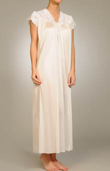 Cap Sleeve Lace Trim Gown