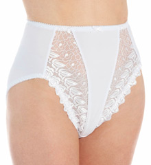 Embroidered Lace and Satin Hi-Cut Brief Panties