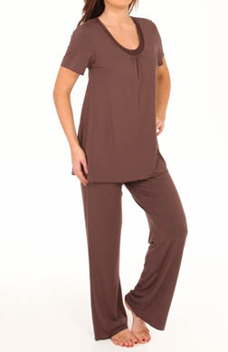 Amoena Short Sleeve Satin Trim Pajama Set