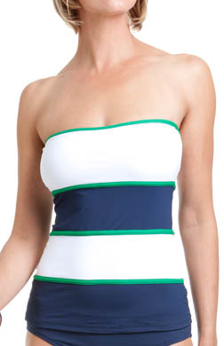 Anne Cole Yacht Club Color Block Bandeau Tankini Swim Top