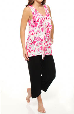 Anne Klein Cascades in Bloom Cropped PJ with Soft Bra