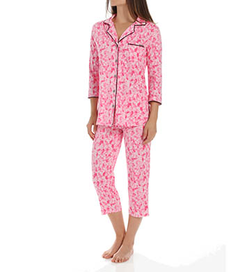 Anne Klein Rose 3/4 Sleeve Cropped PJ Set