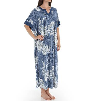 Anne Klein Chambray Long Caftan Poly Spandex Jersey Gown
