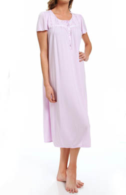 Aria Dreaming In Pastels Solid Short Sleeve Long Gown