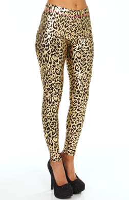 Betsey Johnson Hosiery Liquid Leopard Metallic Legging