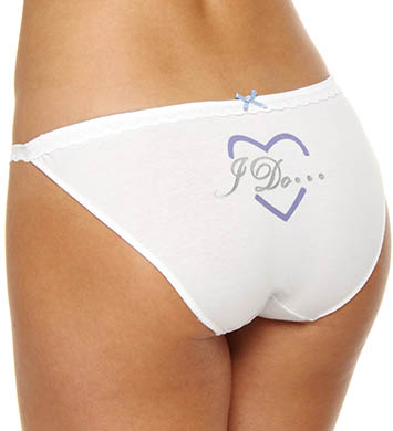 Betsey Johnson Intimates Stretch Cotton With Lace Side String Bikini Panty