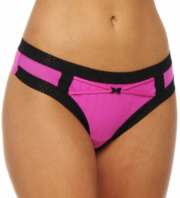 Betsey Johnson Intimates Zipper Stripe Low Rise Wide Side Thong