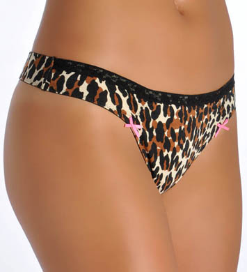 Betsey Johnson Intimates Cotton Stretch with Lace Lo Rise Thong