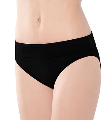 Captiva Solid High Waist Foldover Swim Bottom