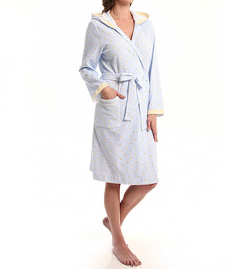 Carole Hochman Fresh Rose Tiles Short Hooded Robe