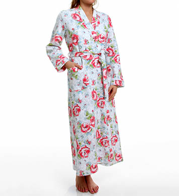 Carole Hochman Whistful Rosebuds Long Diamond Quilted Robe