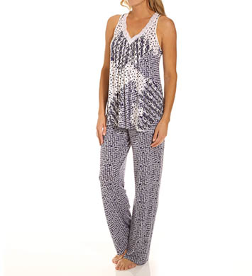 Carole Hochman Midnight Mixed Prints Long Pajama Set