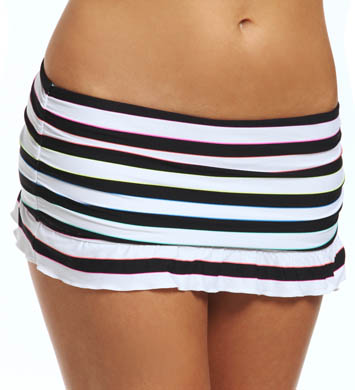 Coco Rave Most Wanted Stripe Ruffle Skirted Swim Bottom