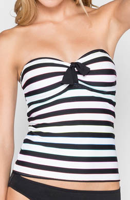 Coco Rave Most Wanted Stripe Bandeau Tankini Swim Top