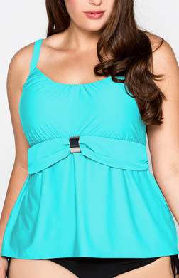 Coco Reef Solids Peasant Tankini Swim Top Plus Size