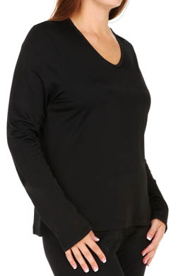 Cuddl Duds Softwear Lace Edge Long Sleeve V Neck Plus Size