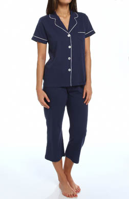 Dearfoams Short Sleeve Notch Collar Solid PJ