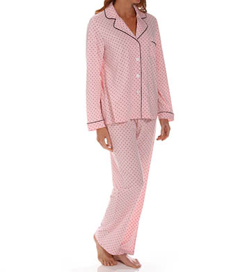 Dearfoams Long Sleeve Notch Collar Printed PJ Set
