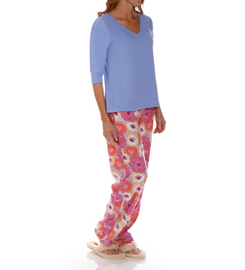 Dearfoams Gathered V Neck Printed PJ Set