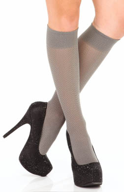 DKNY Hosiery Knee Socks Chevron