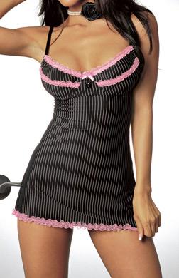 Dreamgirl Pinstripe Babydoll w matching ruffle panty