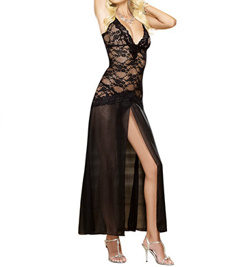 Dreamgirl Stretch Lace and Chiffon Gown with Matching Thong