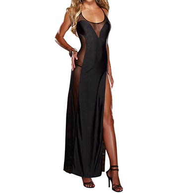 Dreamgirl Silky Microfiber And Mesh Gown With Matching Thong