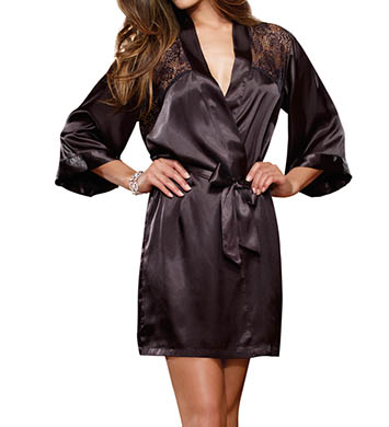 Dreamgirl Satin And Lace Charmeuse Kimono With Plunging Back