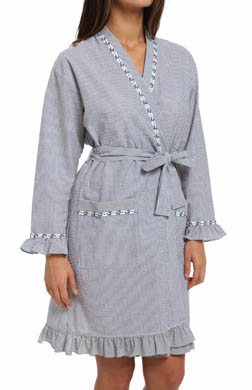 Eileen West Winsome Muse Seersucker Short Wrap Robe