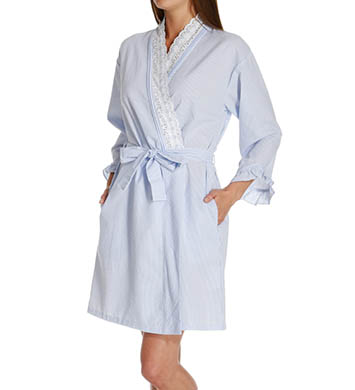 Eileen West Flower Child Seersucker Short Wrap Robe