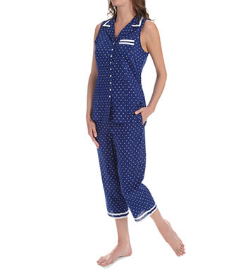 Eileen West Azure Notch Collar Capri Pajama