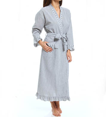 Eileen West Winsome Muse Seersucker Long Wrap Robe