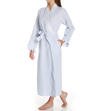 Eileen West Flower Child Seersucker Long Wrap Robe