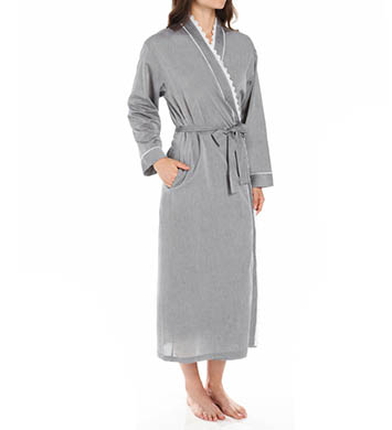Eileen West Rosebud Chambray Ballet Wrap Robe
