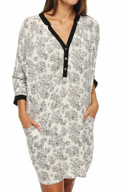 Ellen Tracy Falls For Prints Charming 3/4 Sleeve Sleepshirt