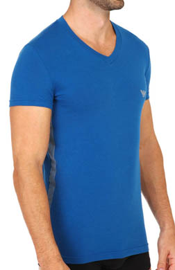 Emporio Armani Seven Stripes Stretch Cotton V-Neck T-Shirts
