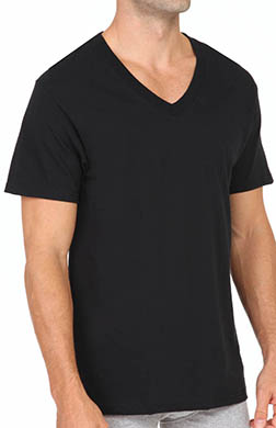 Fruit Of The Loom Black and Grey V-Neck T-Shirts - 4 Pack