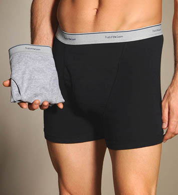 Fruit Of The Loom Black/Gray Trunks - 2 Pack