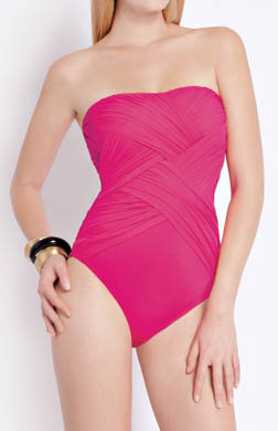 Gottex Contour Lattice Bandeau One Piece Swimsuit