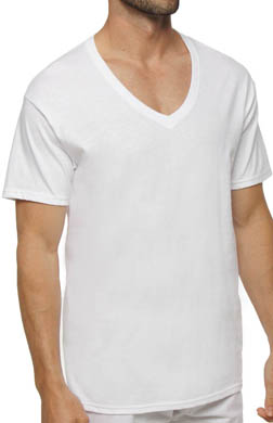 Hanes White V-Neck T-Shirts - 6 Pack