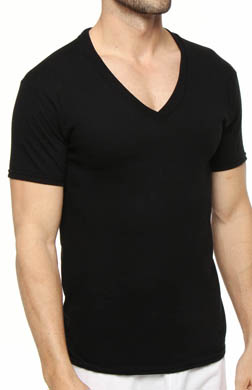 Hanes Slim Fit Black V-Neck T-Shirts - 3 Pack